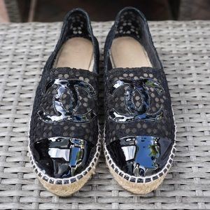 CHANEL Crochet and Patent Leather Espadrilles